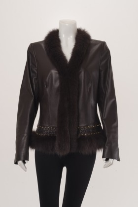 C0365 Leather Jacket Fox Trim Front