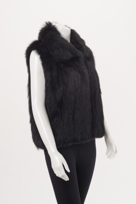 C0376 Woven Black Fox Vest Side