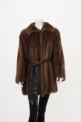 C0319 Brown Mink Stoller + Leather Belt Front