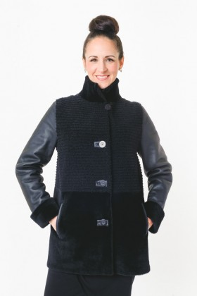 Shearling Jacket with Grooved Front & stand up collar